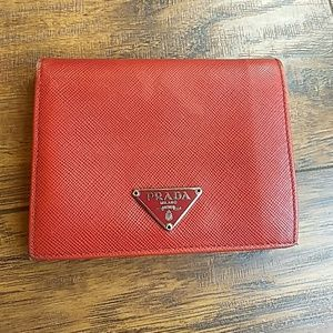 Prada red saffiano leather small wallet